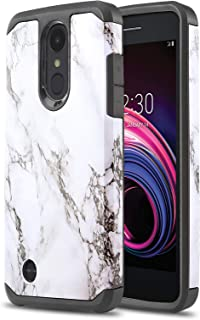 Phone Case for [LG Tribute Empire (Boost Mobile, Sprint)], [DuoTEK Series][White Marble] Shockproof Hard Cover [Impact Resistant][Defender] for LG Tribute Empire (Boost Mobile, Sprint)