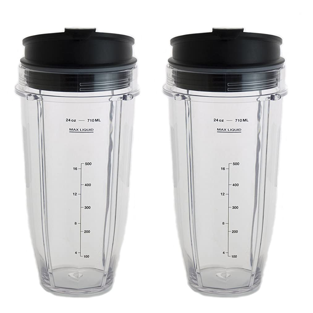 24 oz Cups For Nutri Ninja Blender w/ Leak Proof Sip and Seal Lid. Dishwasher Safe & BPA-free Ninja Replacement Cup Fits All Ninja with Auto iQ Systems (Pack of 2)