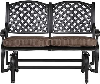 Tourville Outdoor Living Nassau Cast Aluminum Bench Glider with Walnut Seat Cushion, Antique Bronze Finish