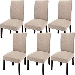 GoodtoU Chair Slipcovers for Dining Room Chair Slipcovers Kitchen Dining Chair Covers (Sand, 6)