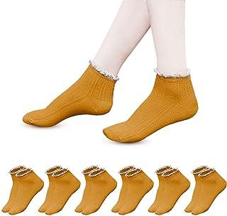 Unisun 6 paia di calzini alla caviglia da donna Calzini con volant in pizzo di cotone lavorato a maglia Calzini casual tinta unita Calzini da principessa per ragazze Calzini per studenti