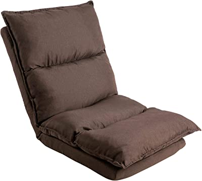 FLOUGOR Fold Floor Gaming Chair with Back Support 42-Position Adjustable Folding Padded Adults Gaming Lazy Sofa Chair Indoor Cushioned Reclining Lounge Chair for Comfy Reading, 8812B-CO
