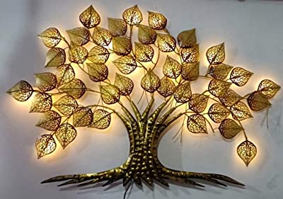 ART HOUSE Handicraft Metal Tree Wall Hanging Decor with LED Light, Wall Decor Tree with led, Wall Hanging Tree, Wall Tree led Iron Wall Hanging Big LED Gold Tree for Home Living Room Wall
