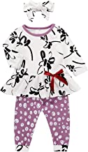 Toddler Baby Girl Clothes White Color Ruffle Tops Floral Purple Dots Pants with Headband Outfit Set