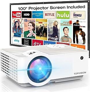 Video Projector, Top vision 6500L Portable Mini Projector...