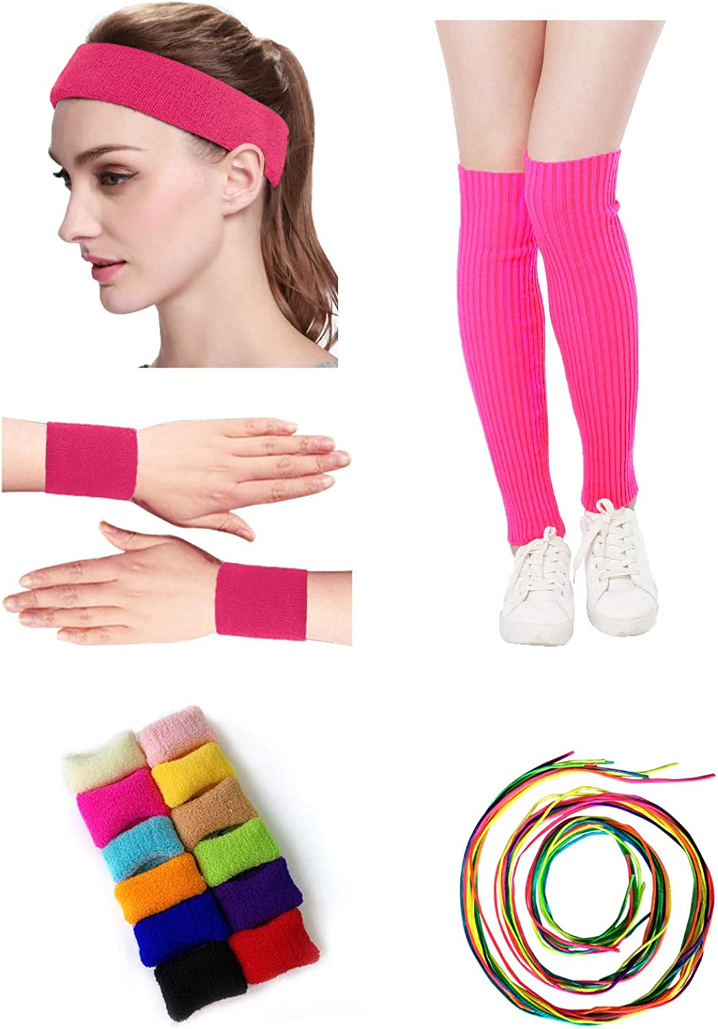 Kimberly's Knit Women Neon 80s Leg Warmers Headband Wristbands Set and Colorful Hair Rope for Party