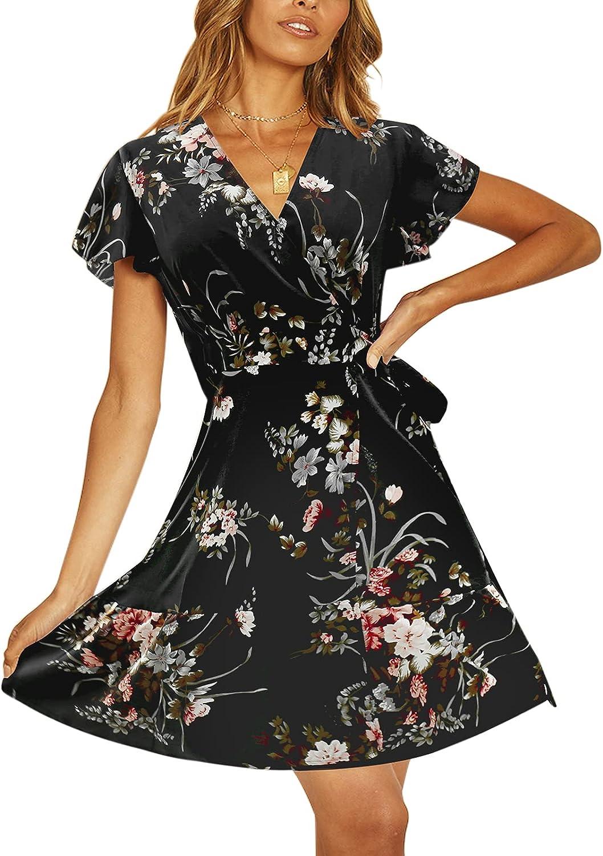 TEMOFON Special sale Max 61% OFF item Women's Dresses Summer Wrap Ruff Floral Printed Bohemian