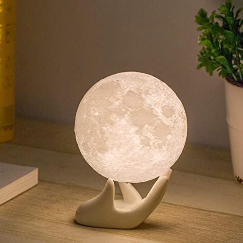 Mydethun Brightness 3D Printed Warm and Cool White, ML-035, Resin, 3.5in Moonlight with Ceramic Hand Base, 3.5IN Moon...