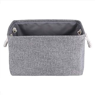 Rehomy Panier de rangement en tissu pliable rectangulaire avec poignées pour serviettes de maison, chambre à coucher, joue...