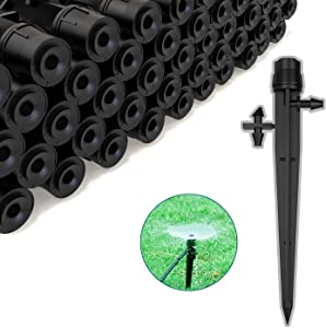 Drip Irrigation Emitters 100 Pcs Drip Emitters 360 Degree automatic Irrigation Drippers Adjustable Water Irrigation Stakes Garden Irrigation System Drip Sprinkler with Barbed Connector Fit 4/7 MM Tube