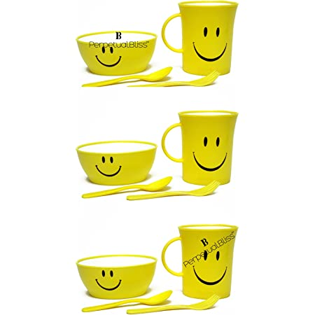 Kids Fashion Laxmi Collection (Pack Of 6) Smiley Mug Set With Bowl With Spoon With Fork