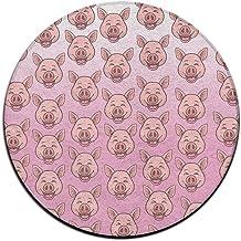 Cute Pig Face Emoji Non-slip Mats Circular Carpet Mats Dining Room Bedroom Carpet Floor Mat 23.6 Inch