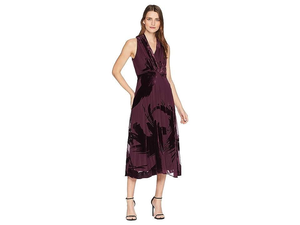 Taylor Sleeveless Velvet Burnout Maxi Dress (Burgundy) Women