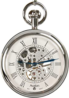 Avalon 17 Jewel Mechanical Skeleton Silver-tone Pocket Watch with Chain, # 8410SX