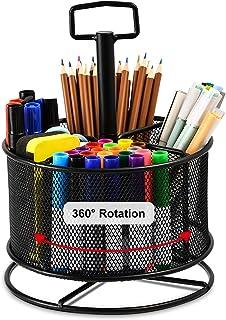 Marbrasse Mesh Desk Organizer,360-Degree Rotating Multi-Functional Pen Holder,4 Compartments Desktop Stationary Organizer,...