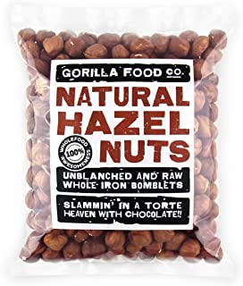 Gorilla Food Co. Hazelnuts (Filberts) Shelled Raw Whole - 1 Pound Resealable Bag