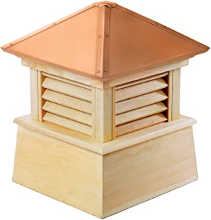 """Good Directions Manchester Louvered Cupola with Pure Copper Roof, Cypress Wood, 18"""" x 22"""", Quick Ship, Reinforced Rafters ..."""