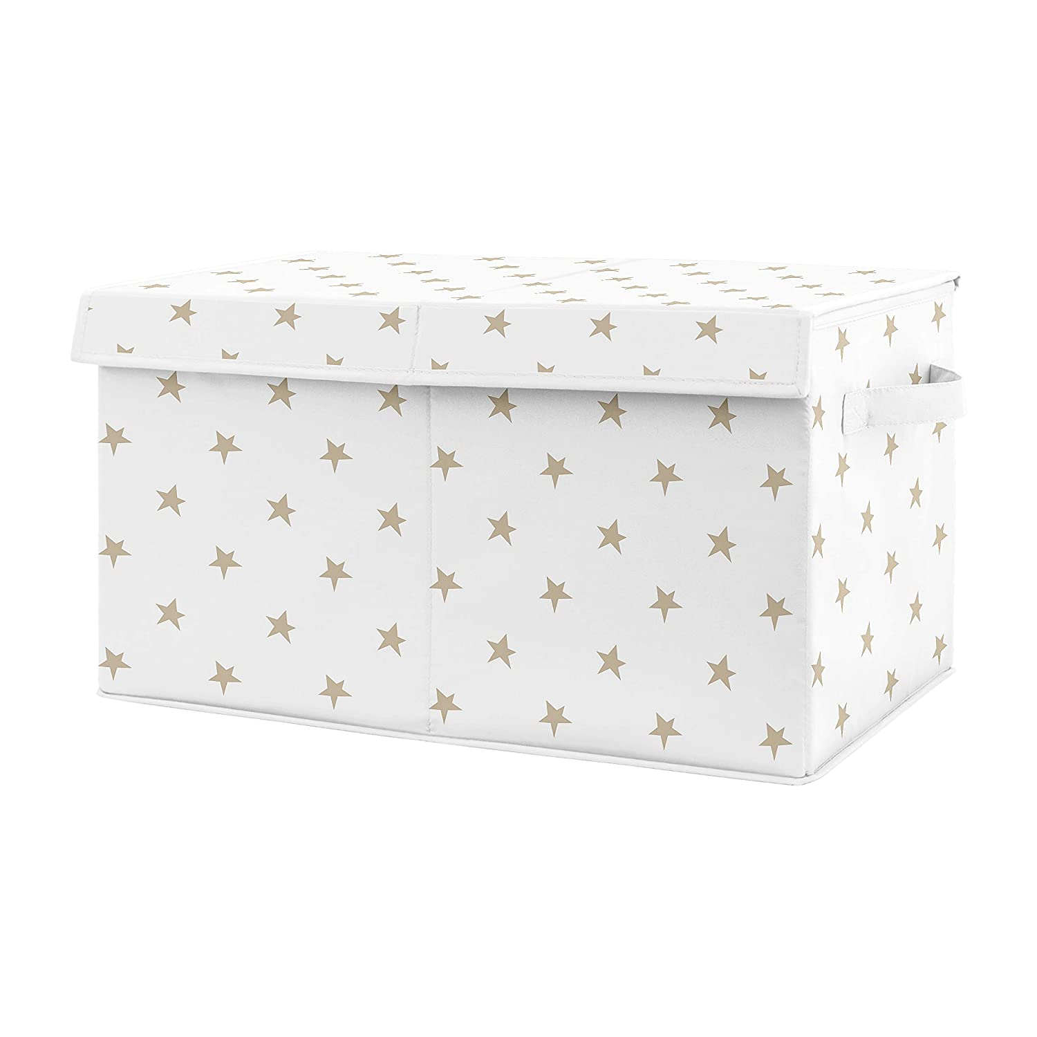 Sweet Jojo Designs Gold and White Celestial Star Girl Small Fabric Toy Bin Storage Box Chest for Baby Nursery or Kids Room