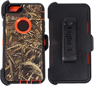 Heavy Duty Defender Impact Rugged with Built-in Screen Protector Camouflage Case Cover with Clip for Apple iPhone 6S Plus (only)(Orange-Grass-Camo)