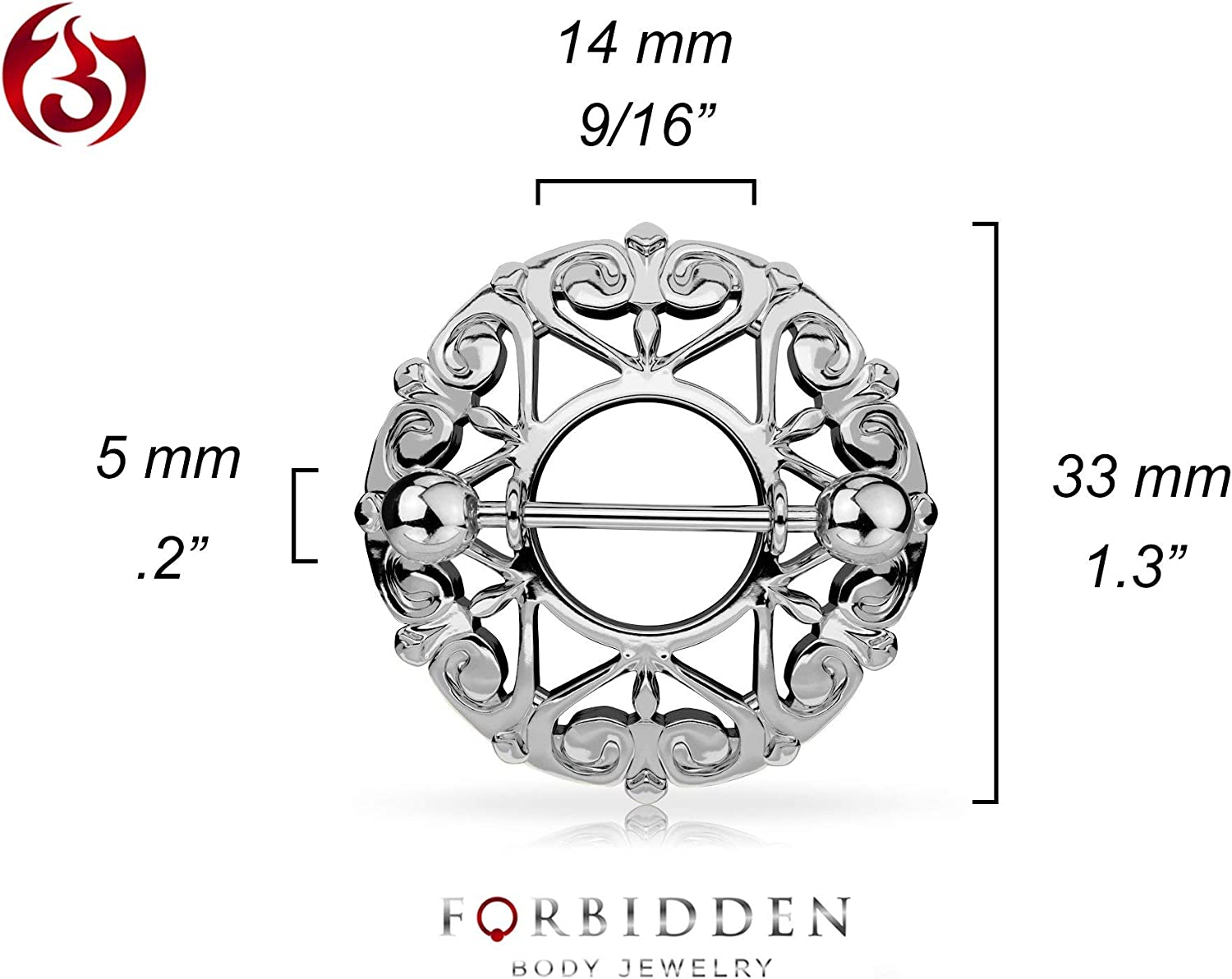 Forbidden Body Jewelry Pair of Surgical Steel Sexy Heart Nipple Piercing Shields, 9/16 Inch Barbells