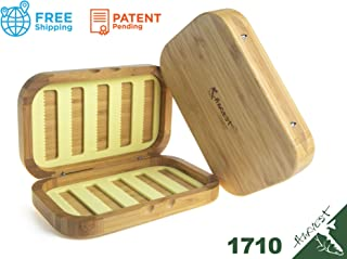 Harvest Tackle - Wooden Fly Fishing Box, Bamboo Material, Slit Foam Insert, Hidden Magnetic, Anti-Distort