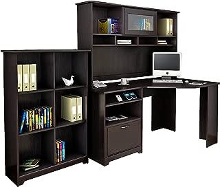 Bush Furniture Cabot Corner Desk with Hutch and 6 Cube Organizer in Espresso Oak