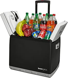 Knox Electric Travel Cooler and Warmer – 47 Quart (60 Cans) Portable Fridge with AC and DC Power Cords for Home, Car and Camping – Pull-Out Handle and Wheels
