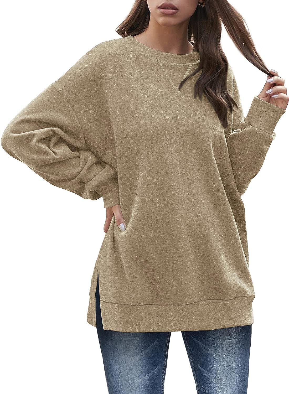 Dofaoo Sweatshirt for Women Crewneck Long Sleeve Shirts Casual Tunic Tops to Wear with Leggings