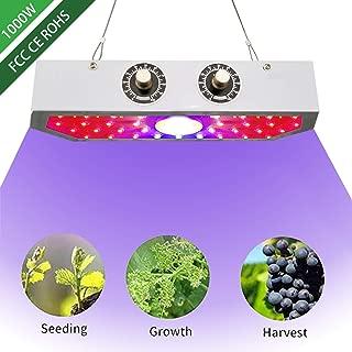 1000W LED Grow Light Double Chips Full Spectrum Adjustable Veg & Bloom for Greenhouse Indoor Plant Rectangle Shape