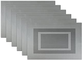 DII PVC Tabletop Collection Woven Indoor/Outdoor, Placemat Set, 13x17.25, Gray 6 Count