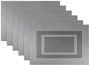DII Kitchen Vinyl Outdoor Placemat Set, S/6, Bordered Gray 6 Piece