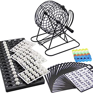 Bingo Game Set Including Metal Bingo Cage White Balls, Bingo Chips, Bingo Board, Bingo Cards Gift for Adults Men Women Kid...