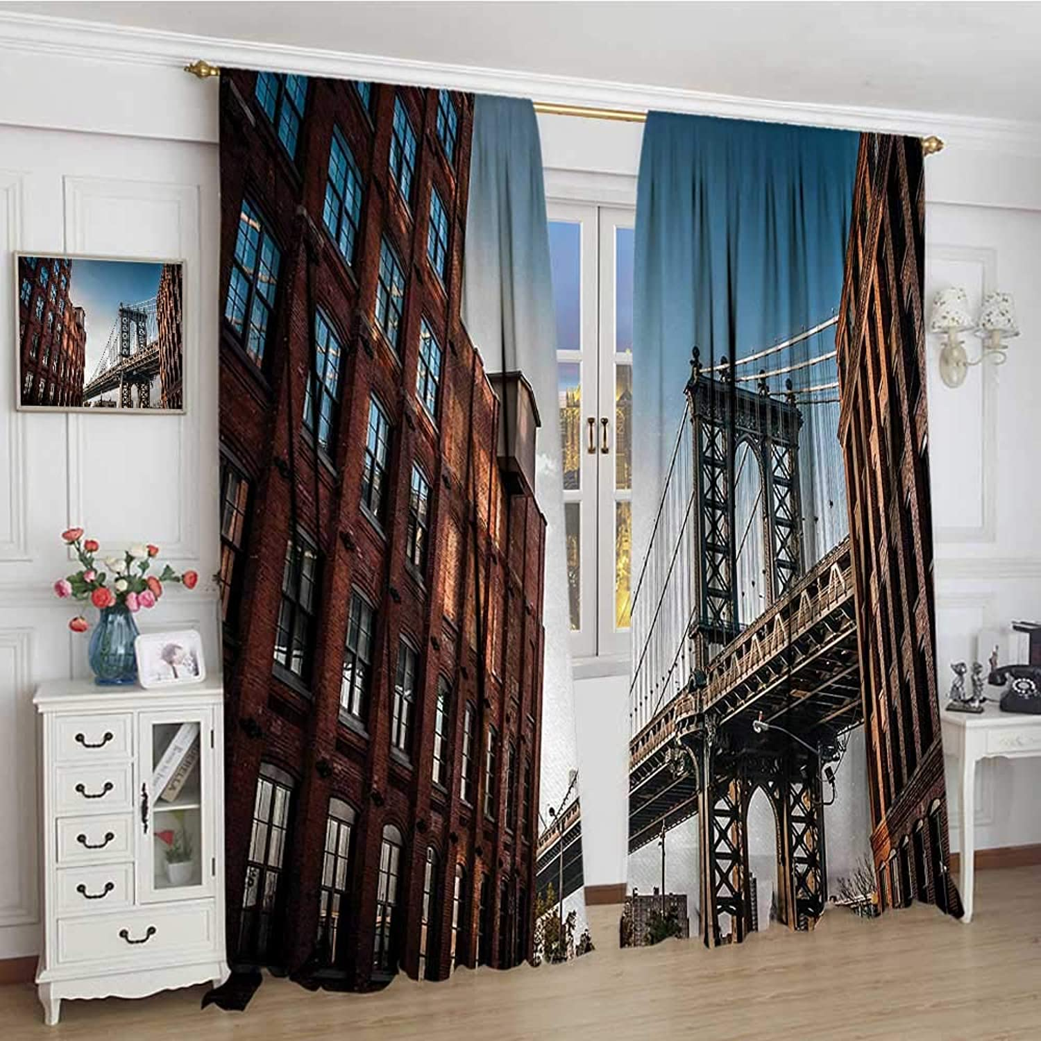 Smallbeefly New York Blackout Window Curtain Manhattan Bridge Seen from Narrow Alley Island Bgoldugh Globally Influential Town NYC Patterned Drape for Glass Door 96 x72  bluee Red