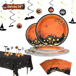 Halloween Party Supplies Set 24 Halloween Paper Plates - Halloween Pumpkin Plates - 2020 Latest Design Disposable Dinnerware Set Orange Paper Plates for Halloween Party