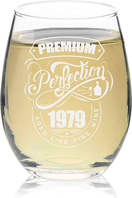 Veracco Premium Perfection 1979 Aged Like Fine Wine Stemless Wine Glass 40th Birthday Gift For Him Her Forty And Fabulous 1979 Stemless Glass