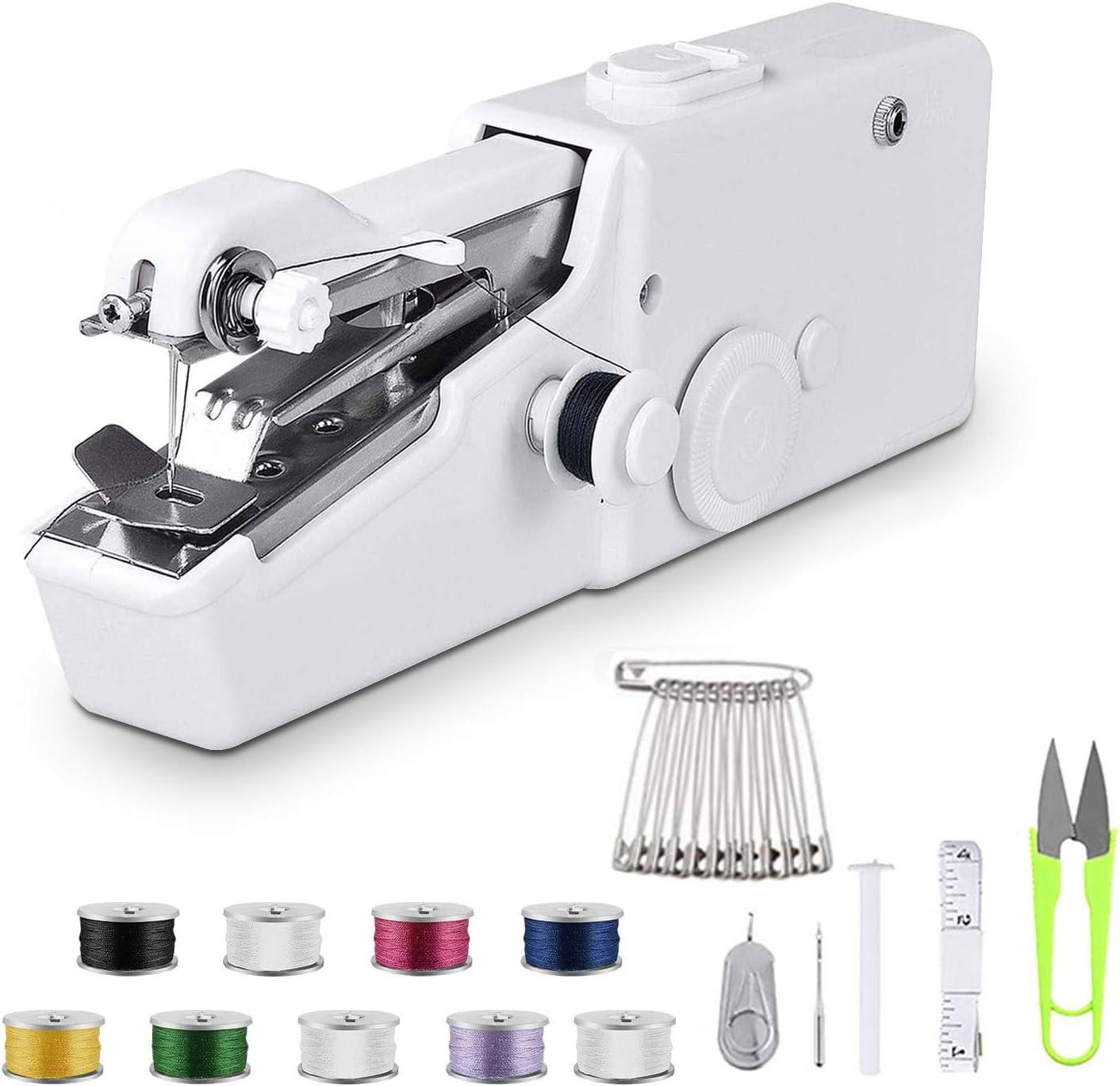 Máquina de coser de mano, mini máquina de coser portátil sin cable, mini máquina de coser para principiantes máquina de coser rápida y práctica puntada para tela, ropa, paño para niños uso en el hogar