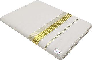 Mylooms® Mens Pure Cotton Golden & Silver Double Dhoti Kassavu Double Mundu