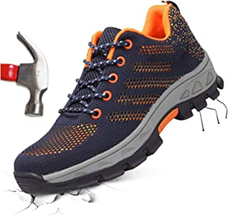 Women & Mens Steel Toe Safety Work Shoes Industrial & Construction Sneakers Puncture Proof Breathable Slip Resistant Shoe