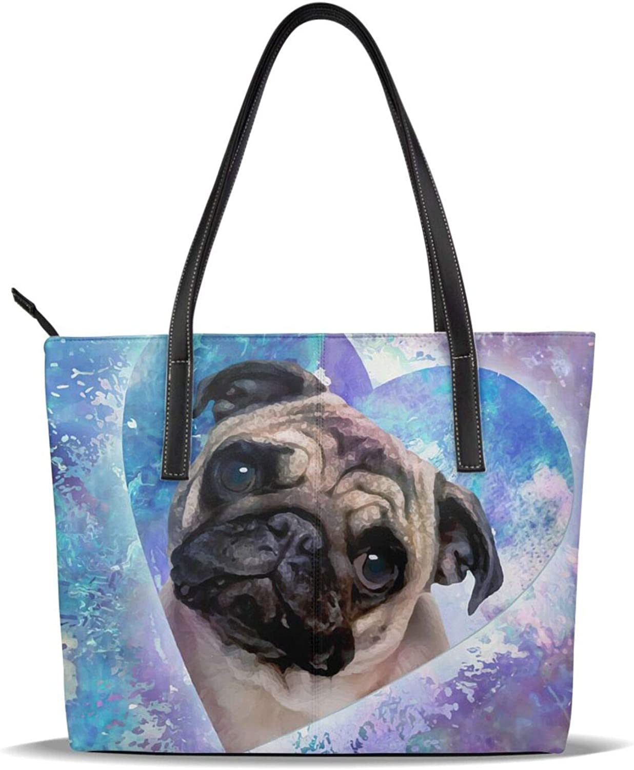 Purple Heart Watercolor Pug Surprise price Dog Free Shipping Cheap Bargain Gift Lover Pu Leather Cute Print