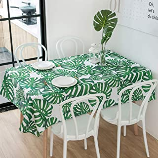 Lamberia Tablecloth Waterproof Spillproof Polyester Fabric Table Cover for Kitchen Dinning Tabletop Decoration (Green Leaves, 52