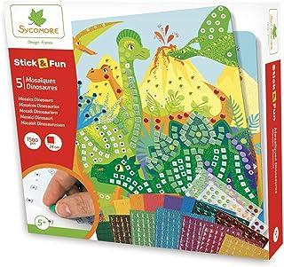 Mosaïques autocollantes pour enfants - 5 tableaux Dinosaures - Loisir créatif - Stick & Fun - Dès 5 ans - Sycomore - CRE7007