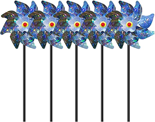 popular Bird Blinder Repellent PinWheels Pin Wheel for online Kids Yards Garden Decor Windmill Yard Decor– outlet sale Sparkly Pin Wheel Spinners Scare Off Birds and Pests Wind Spinner Yard Art Garden Decor, Set of 5 sale