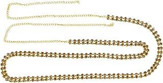 VAMA Stylish Gold Plated Fashions 2 Line Belt Hip Waist Chain for Women (White)