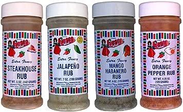 Bolner's Fiesta Extra Fancy Meat Rub 4 Flavor Variety Bundle: (1) Steakhouse Rub, (1) Jalapeno Rub, (1) Mango Habanero Rub, and (1) Orange Pepper Rub, 4.25-7 Oz. Ea.
