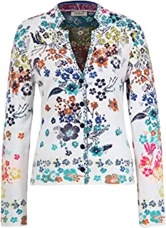 IVKO Floral Rhapsody Floral Pattern Jacket in White Cotton Button Up Cardigan Sweater