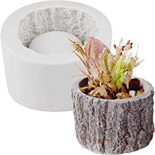 Funshowcase Tree Stump Flower Pot Silicone Mold for Epoxy Resin Concrete Clay Succulent Planter Ashtray Candle Holder 2.8x2inch