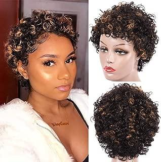 CLIONE Short Curly Human Hair Wigs for Women Brazilian Virgin Afro Kinky Curly Wig F1B/30#