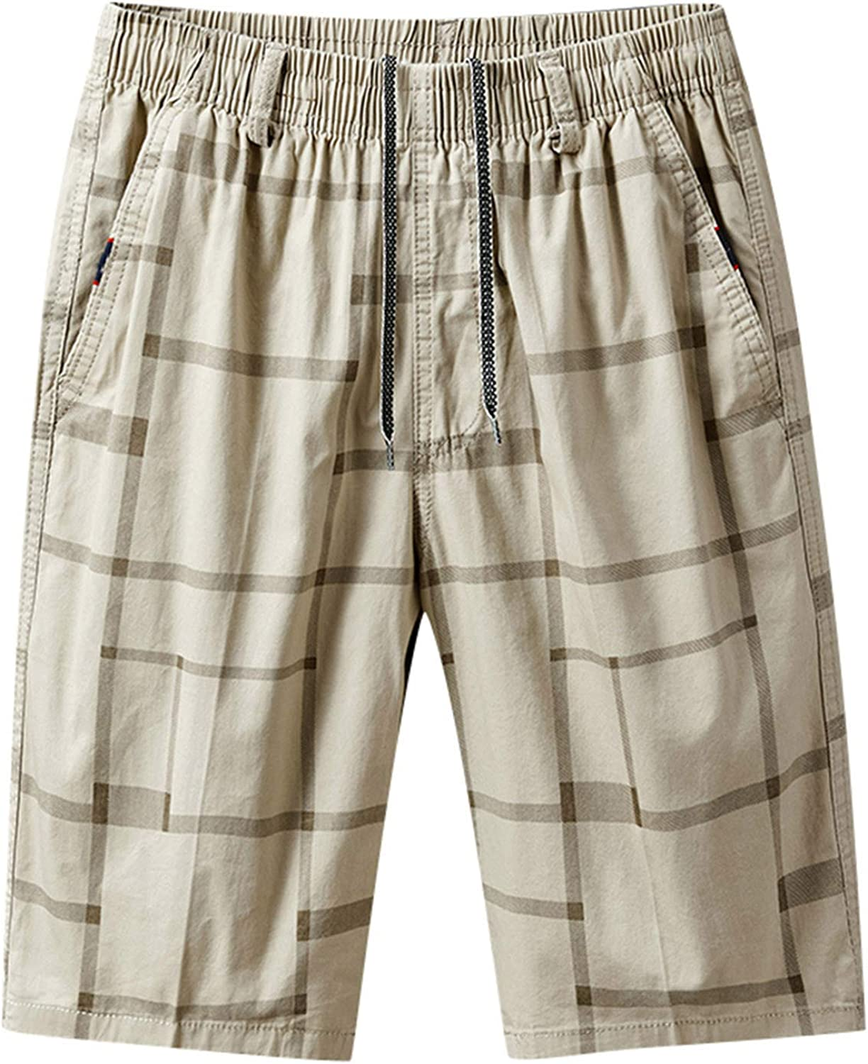 DIOMOR Mens Summer Casual Board Shorts Drawstring Lightweight Quick Dry Pleated Trunks Big and Tall Short Pants with Pocket