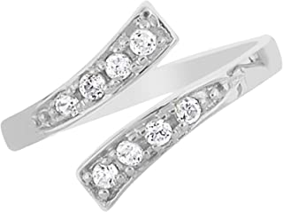 JewelStop 925 Sterling Silver CZ Infinity Crossover Adjustable Toe Ring