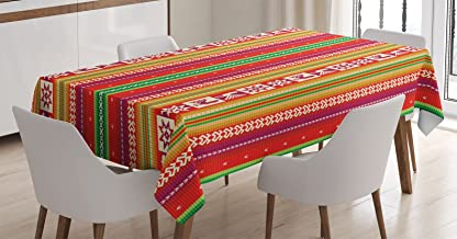 Ambesonne Colorful Tablecloth, South American Star Animal Motifs Vermilion and Lime Green Vertical Stripes, Dining Room Ki...